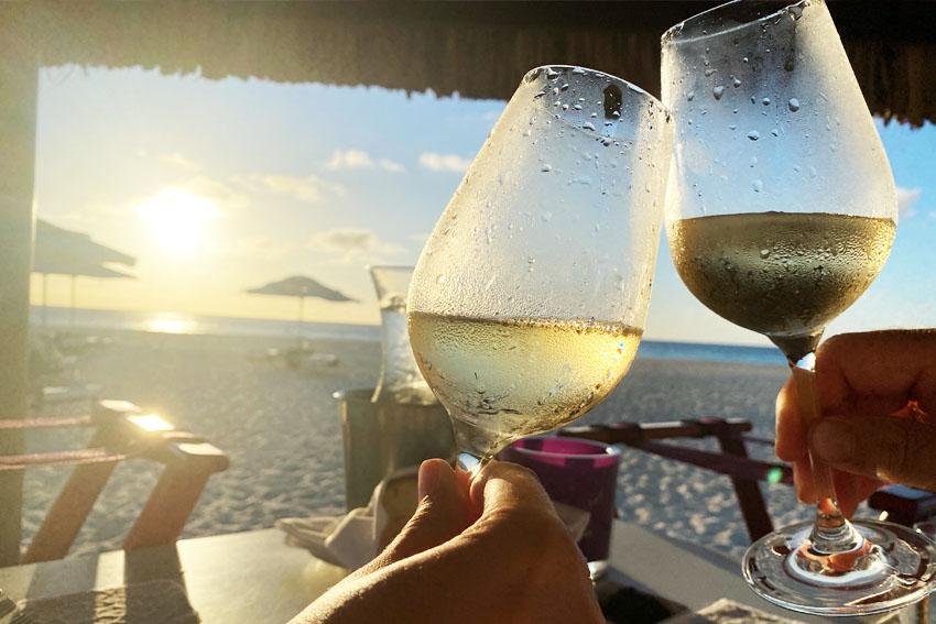 Cheers! Good wine at Elements Restaurant